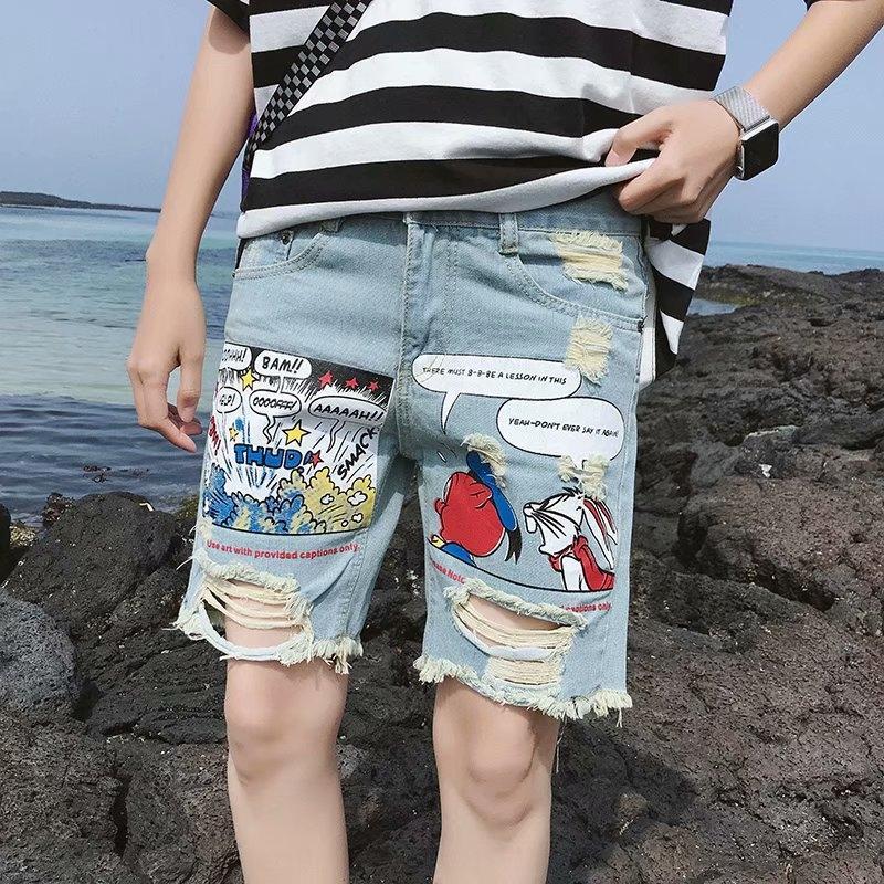 8PTUt Estate Nove strappato in stile coreano moda pantaloni denim stampato Uomini tagliate di perdono sottile casuale di nove giovani mendicante pantaloni