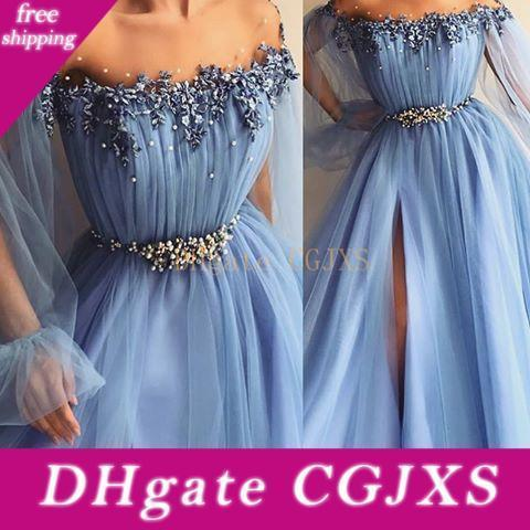 Hada azul de cielo vestidos de baile apliques de perlas Una línea de joyas poeta de manga larga de los vestidos de noche formal delantero de Split Plus Size Vestidos de Fiest