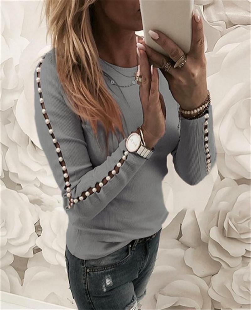 İnci Patchwork Tshirts Moda Hollow Out Uzun Kollu Bayan Ç Boyun Top Bahar İnce Bayan Casual Tee Tasarımcı Kadınlar