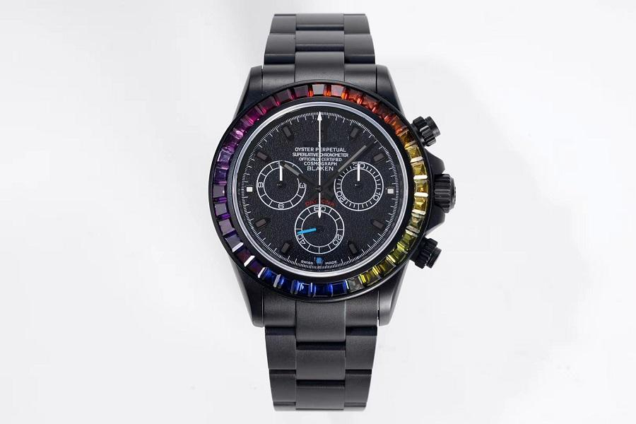 39MM MEN WATCH تطويعه من قبل BLAKEN RAINBOW CRYSTAL BEZEL DLC OXF DARKNIGHT الأسود الهاتفي سوار 7750 AUTOMATIC CHRONOGRAPH WATCHESE