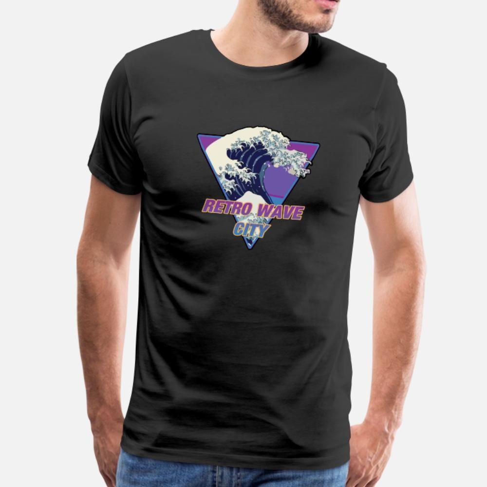ретро волны город synthwave 80s тенниска мужчины Дизайн с коротким рукавом S-XXXL Trend Сыпучей Смешной Весна Kawaii рубашка