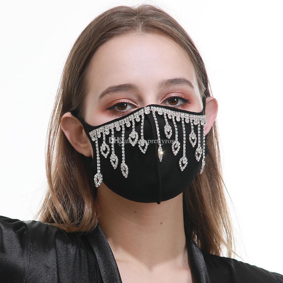 A prueba de polvo de la borla de la mascarilla de la máscara del diamante de Bling máscaras protectoras PM2.5 boca lavable reutilizable colorida de las mujeres máscara facial diamantes de imitación