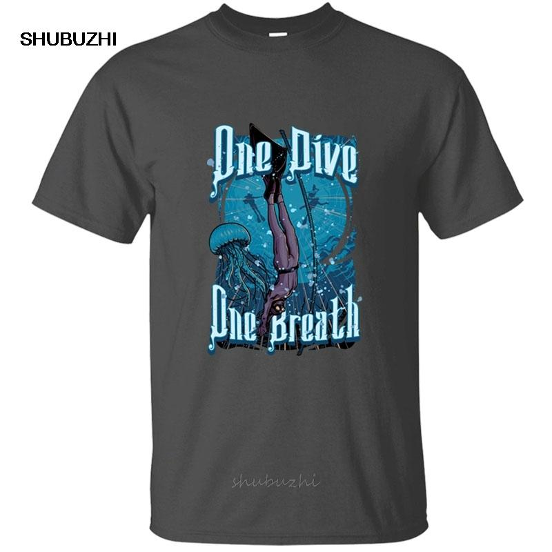 T-shirt do Impresso Uma Dive One Breath Freediving Men presente manga curta roupa Camiseta Masculino Feminino sólida Color Pop Top Tee