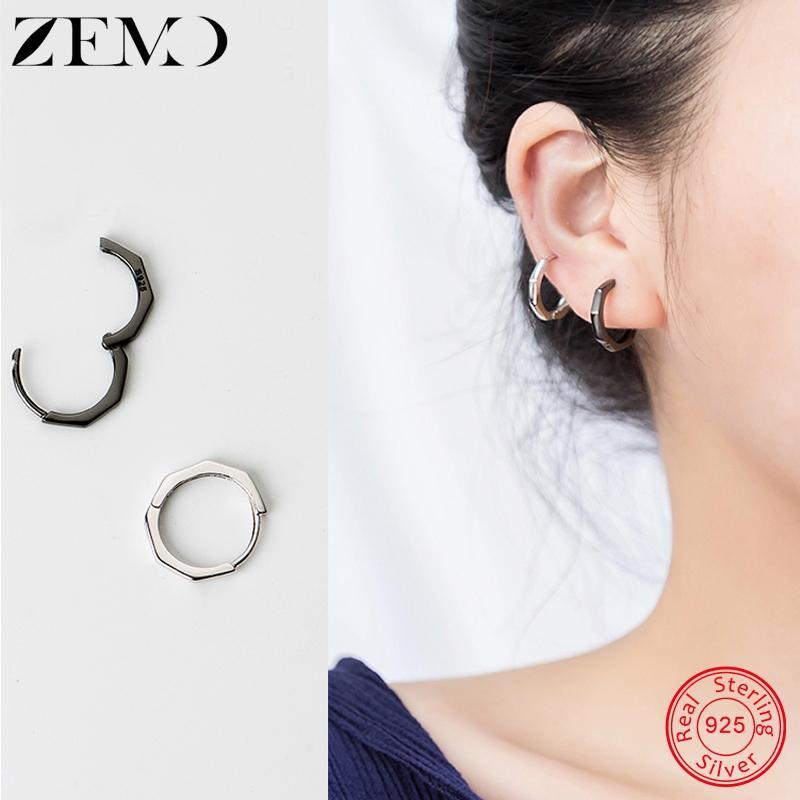ZEMO 925 Серебро Sterling Octagon обручи серьга для девочек Геометрического круг серьги для женщин Женских Простые Пронзительных ювелирных изделий