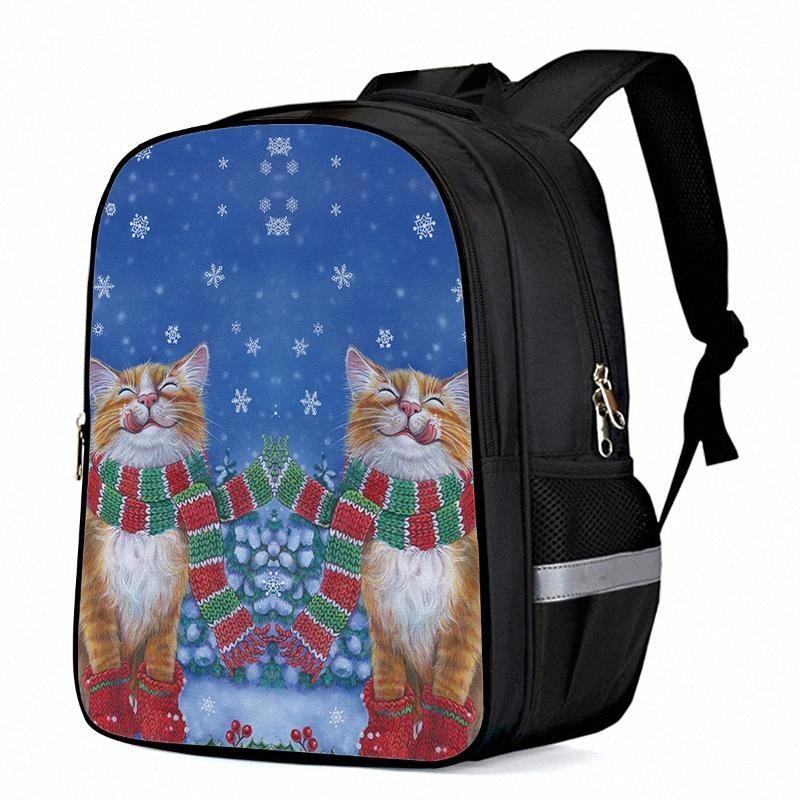 Linda portátil de la Navidad del gato del animal doméstico mochilas escolares del niño del bolso libro bolsa de deporte Bolsas de botella bolsillos laterales u881 #