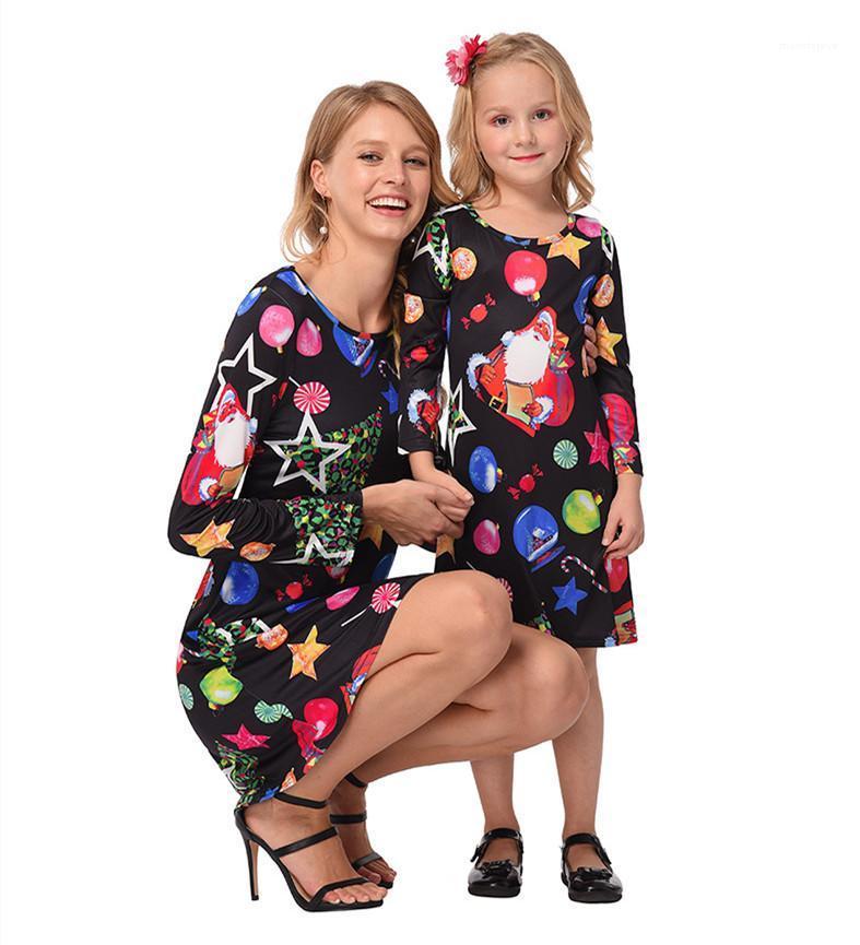 Womens Família Christmas Dress dos desenhos animados Mulher Primavera Autumn Festival O-pescoço manga comprida A-linha média Vestidos Mulheres Moda roupas