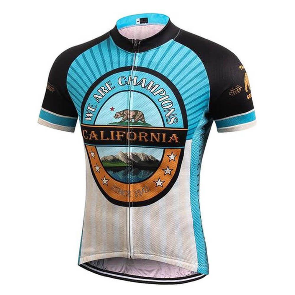 캘리포니아 챔피언스 곰 사이클링 저지 남성 레트로 자전거 의류 여름 자전거 짧은 소매 도로 자전거 의류 MTB 자전거 착용 탑