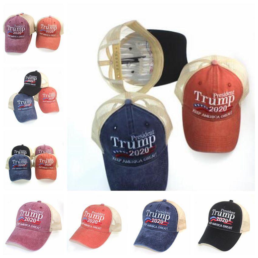 Trump bordado Manter Bola de Pano de Pano Chapéu Beisebol Visor Praia Lavada Grande América Tampão Viagens Ao Ar Livre Caps Sun Hat Designer FWC1083 TXBIB