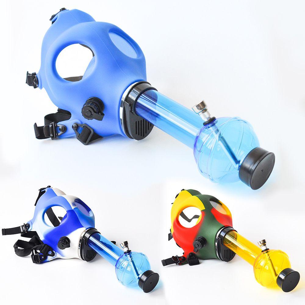 Gasmaske mit Acryl Rauchen Bong Silikon Rohr Tabacco Shisha Rauchrohr Wasserpfeife rauchen Zusatz-freies Verschiffen