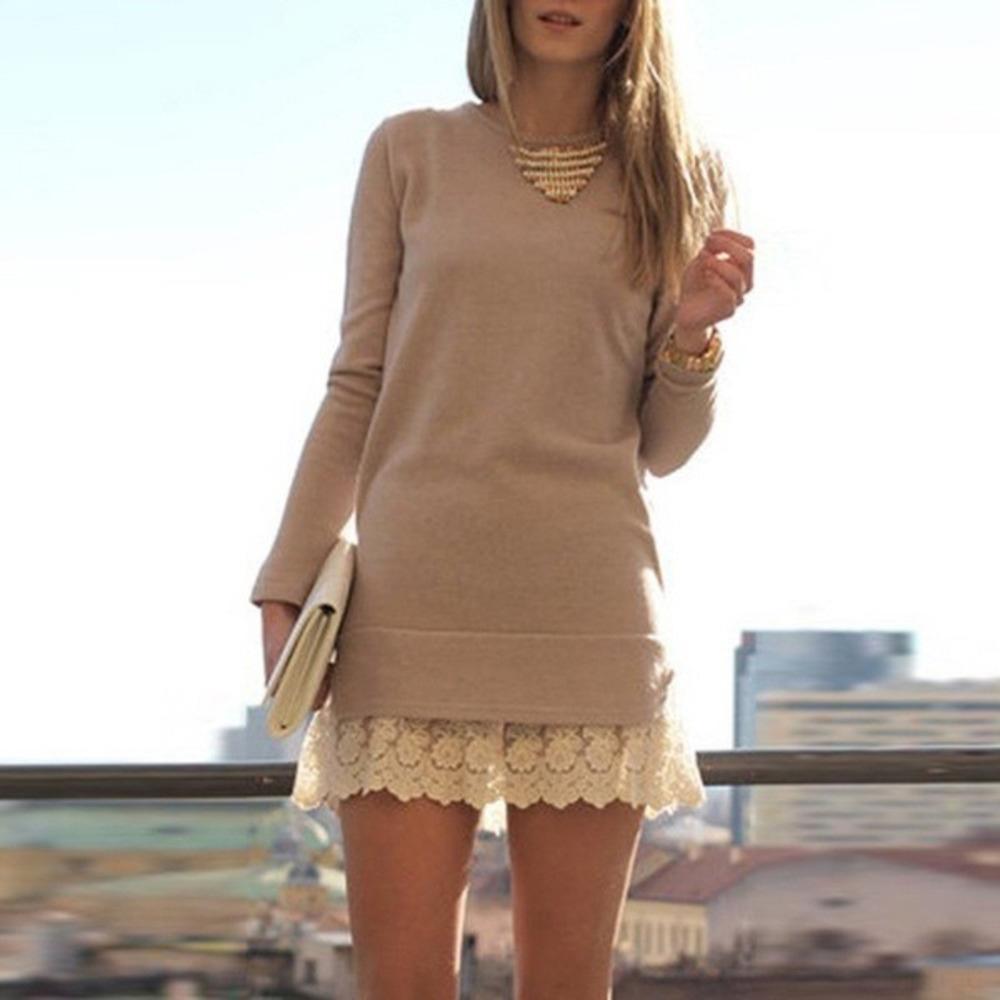 bqETa nouveau col rond manches longues coutures Nouvelle robe col rond robe de dentelle en dentelle à manches longues coutures