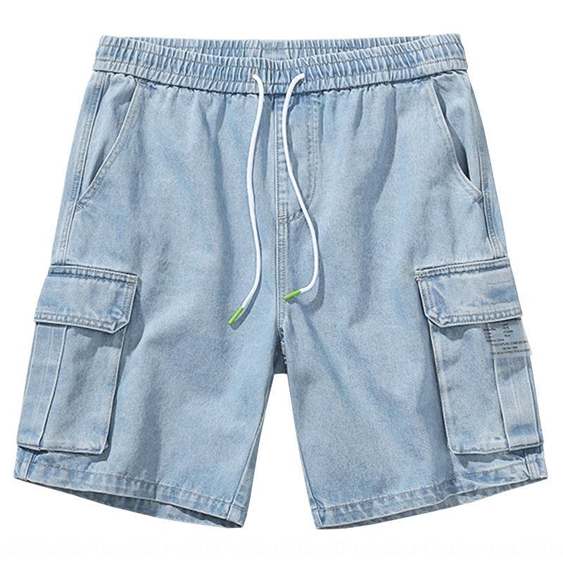 lmiFd Tide BR 2020 primavera ins sciolto elastico azzurro e pantaloni a vita del tutto-fiammifero di tendenza utensili a cinque punti di jeans e jeans uomo