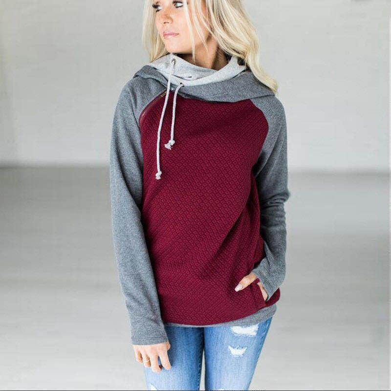 Женская Лоскутная балахон свитер случайные лоскутное цвета с длинным рукавом рубашки осень зима пальто мужские спортивные теплый свитер