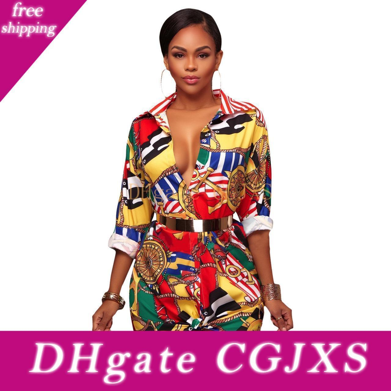 Donne '; S camicette di modo di stampa del kimono Cardigan Vintage camicetta lunga Slim Camicie Casual Autunno Tops Abbigliamento