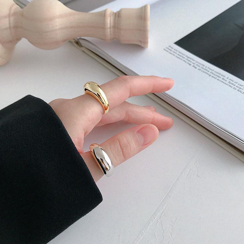 Peri`sBox 925 Sterlingsilber Geometrische Dome Ring Asymmetrische Klassische Bold Goldringe Einzigartige Chunky Ring Minimalist Schmuck