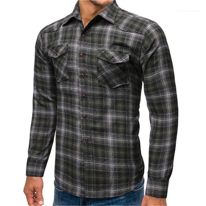 Para hombre solo pecho camisas de cuadros casuales para hombre diseñador de moda camisas de colores a cuadros de manga larga Tops Casual