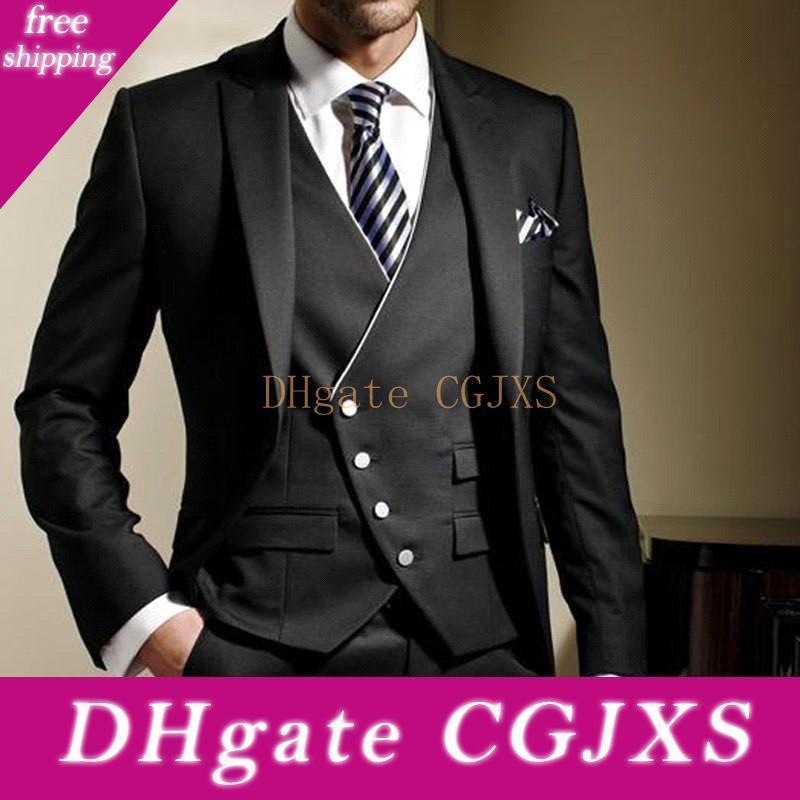 Klas Siyah Biçimsel Erkekler Suit Slim Fit En İyi Erkek Düğün Suit ısmarlama Damat smokin Erkekler Blazer (Ceket Pantolon Yelek) Su0059