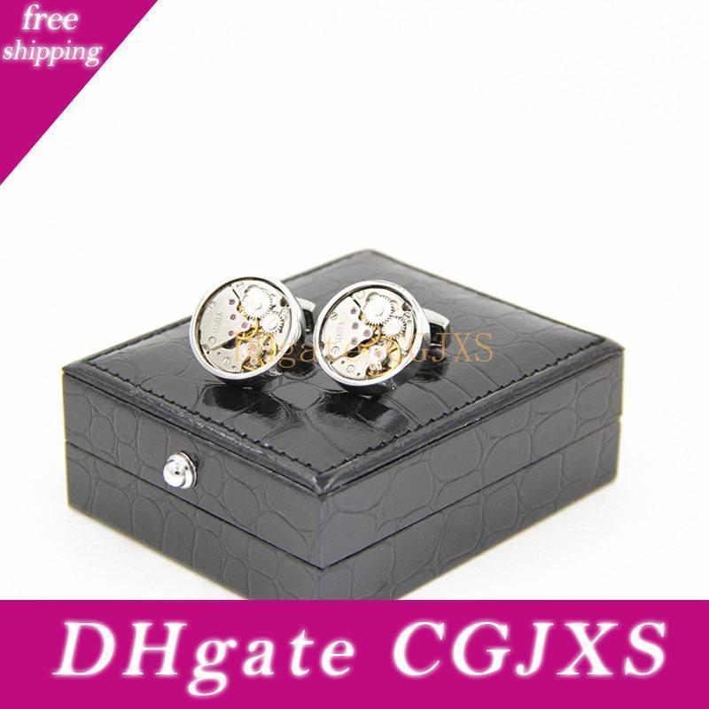Schwarz-Leder-Manschettenknöpfe Box-Qualitäts-Imitation Alligatorhaut Cuff Box Schmucksache-tragender Kasten-freies Verschiffen Za5721