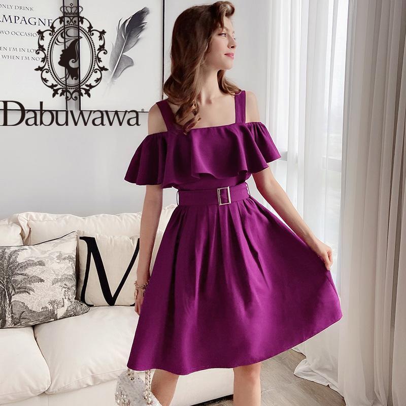 Tuta da donna DABUWAWA Sexy Purple Top Gonna Set Donne Ruffle Spalla senza maniche Cintura senza maniche Elegante Solido Set di due pezzi Set femminile D18BSA0