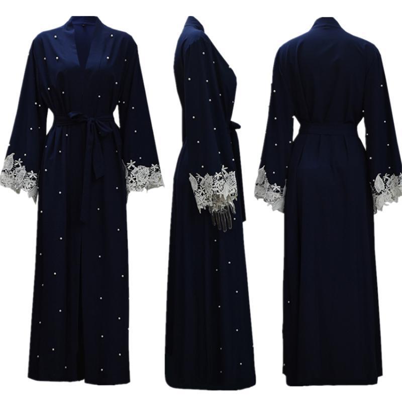 Pizzo Abito signore Abaya Dubai musulmana Moda manica lunga caftano Ramadan Eid islamica Abbigliamento abaya per le donne Robes S-2XL