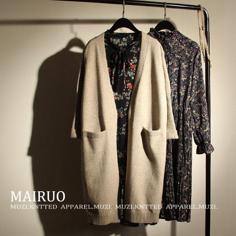 tasca del cappotto stile coreano di media lunghezza con scollo a V cappotto allentato maglione dimagrimento 2020 delle donne maglione 707.221