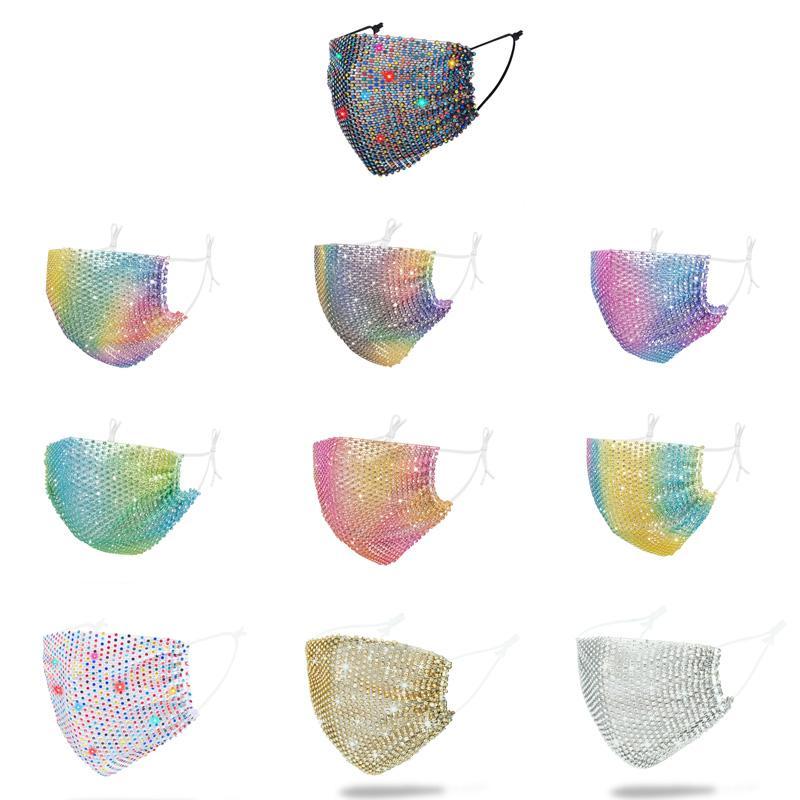 Mode masques bling Party masques visage femmes masque facial club boîte de nuit coloré réutilisable poussière coupe-vent womens Masques