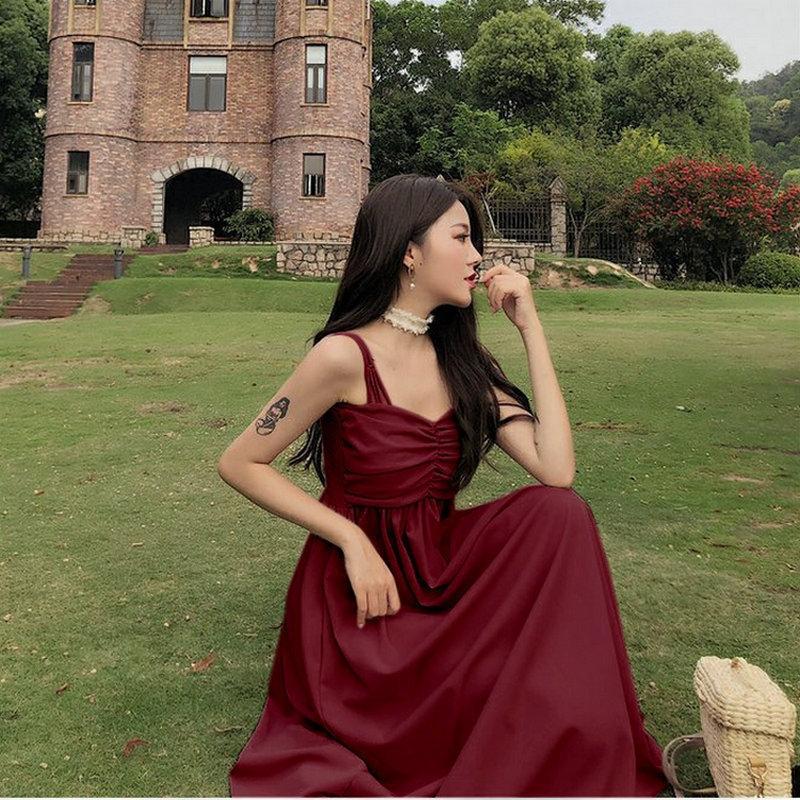 Летний новый сплошной цвет высокой талии платья женщин двойной подвержены лямка трубка средней длины большой юбки подвески большие качели платье суспендируют