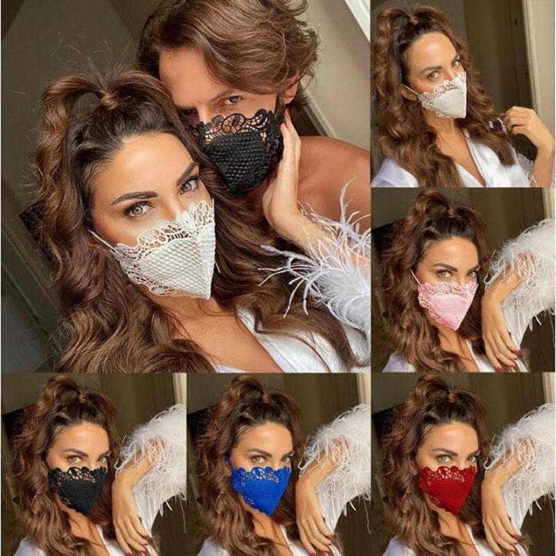 6 стилей Защитной маски для лица Моды Кружево Личности пыл дышащего Хлопок Ткань маски моющегося многоразового Face Mask YYA371
