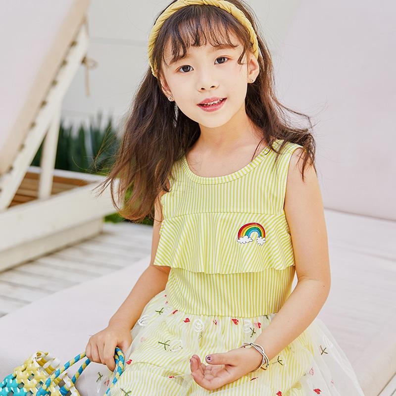 Fwjq4 una sola pieza chica de estilo occidental 4-7 años de edad princesa princesa vestido de traje de baño de la falda del traje de baño de la playa del verano niños NT865321