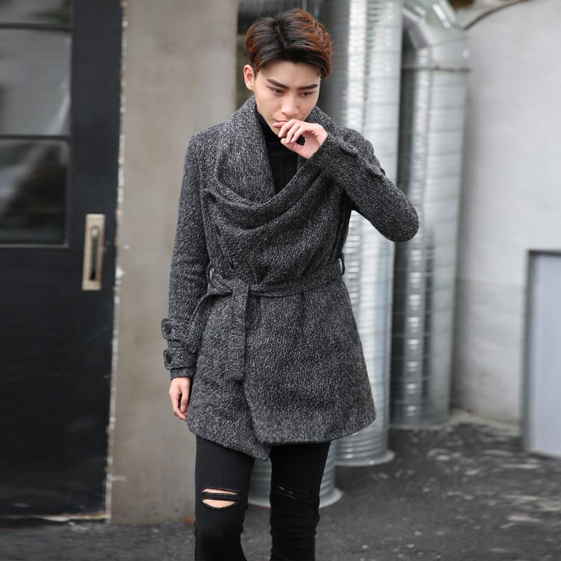 traje de lã mens longo casaco de Harajuku do punk ocasional sobretudo casacos fz0513