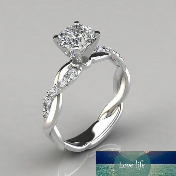 anéis de noivado Braid anel de diamante para o casamento de prata mulheres de ouro mulheres anéis Anéis de jóias de moda vai e presente de areia
