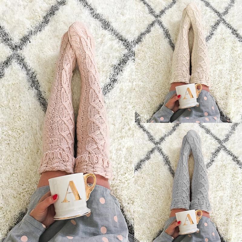 vSfEr torcedura mitad de la longitud FA8W013B sobre la rodilla tubo mitad de la longitud del tubo torcedura de las mujeres de pelo más de la rodilla pila calcetines de lana de lana de lana de lana de las mujeres'