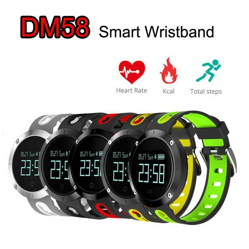 Давление Cgjxs Dm58 Смарт диапазона сердечного ритма крови Браслет Водонепроницаемый IP67 Фитнес Tracker Спортивные часы Smartband для Ios Android S8 телефон