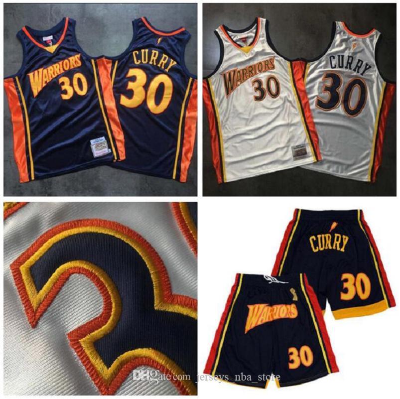 """Golden State """"Warriors"""" Jersey Basketball Jetons Stephen 30 Curry Jerseys Mitchell Ness Dense 2009-10 Rétro Silk Sets Short 01"""