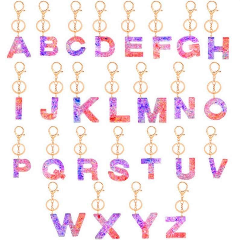 금속과 2020 장식 조각 (26 개) 영문자 키 링 반짝이 알파벳 A-Z 키 체인 서클 가방 펜던트 키 홀더 크리스마스 선물 E92101 클립