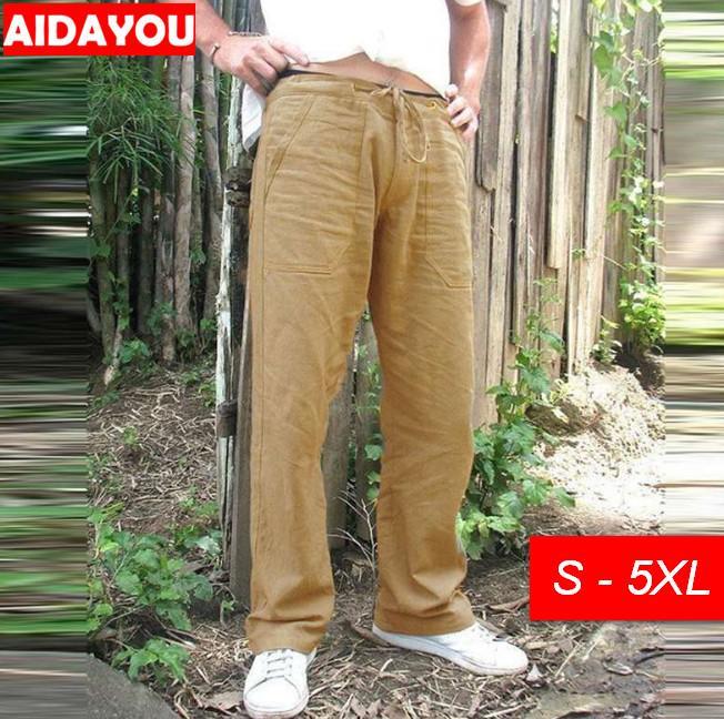 Pantalones casuales para hombres holgados grande y alto con el bolsillo beig más el tamaño de lino pantalones de algodón pantalones estén afuera Comfort ouc478