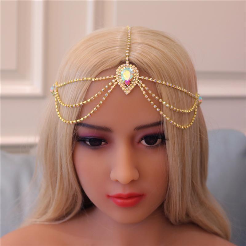 Forehead main cristal Bandeau Bijoux de la chaîne pour les femmes Bohomian de mariée strass chaîne cheveux Coiffe Accessoires