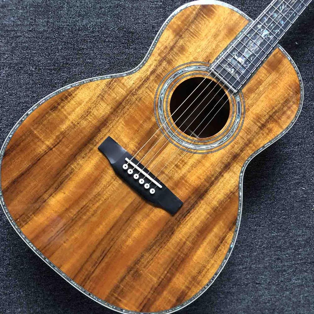 Personnalisé main solide KOA bois guitare acoustique OOO45K Type d'Ebène Abalone Binding EQ électronique est OK Ramassage