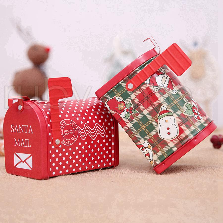 Christmas Iron Mail Post Red Storage Box Christmas Paper Mailbox Candy Boxes New Year Xmas Bakery Packaging Gifts Box Decorations RRA3472 Christmas