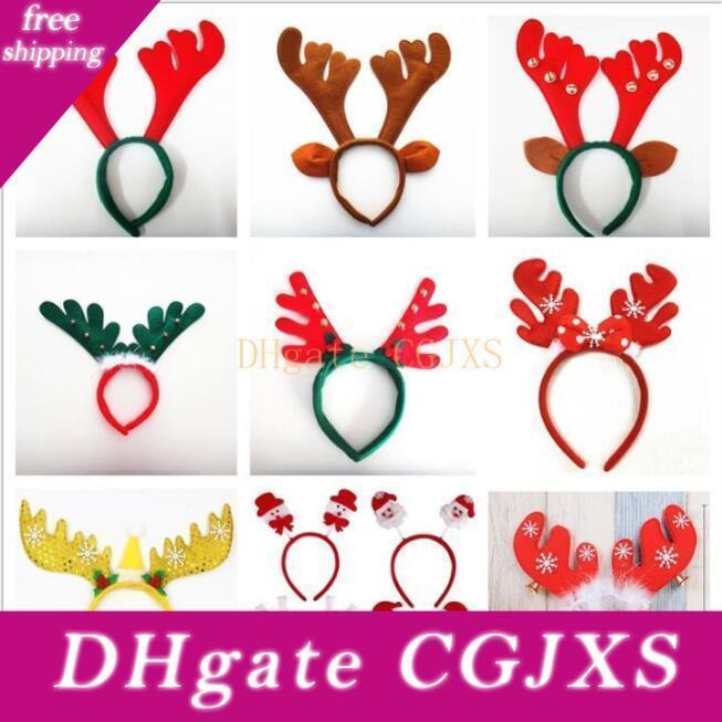 Christmas Antler Hair Bands Christmas Decorations Red Non Woven Headband Holiday Party Birthday Party Supplies Lxl652