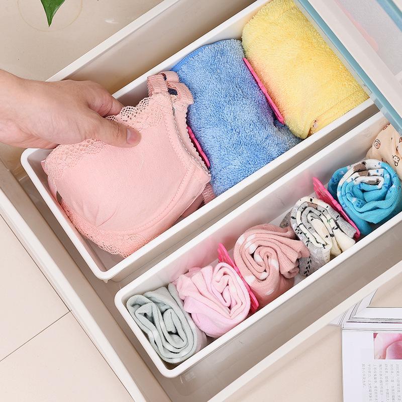 Ajustável de plástico estiramento ripa Drawer Divider Partition Underwear armazenamento Organizer DIY Início Louça armazenamento Racks