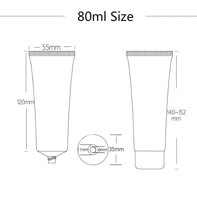 30ml 50ml botella de aluminio de plata de plástico blando Cosmética Cuidado de la Piel Crema Squeeze Empaquetado Loción Corporal viaje de contenedores