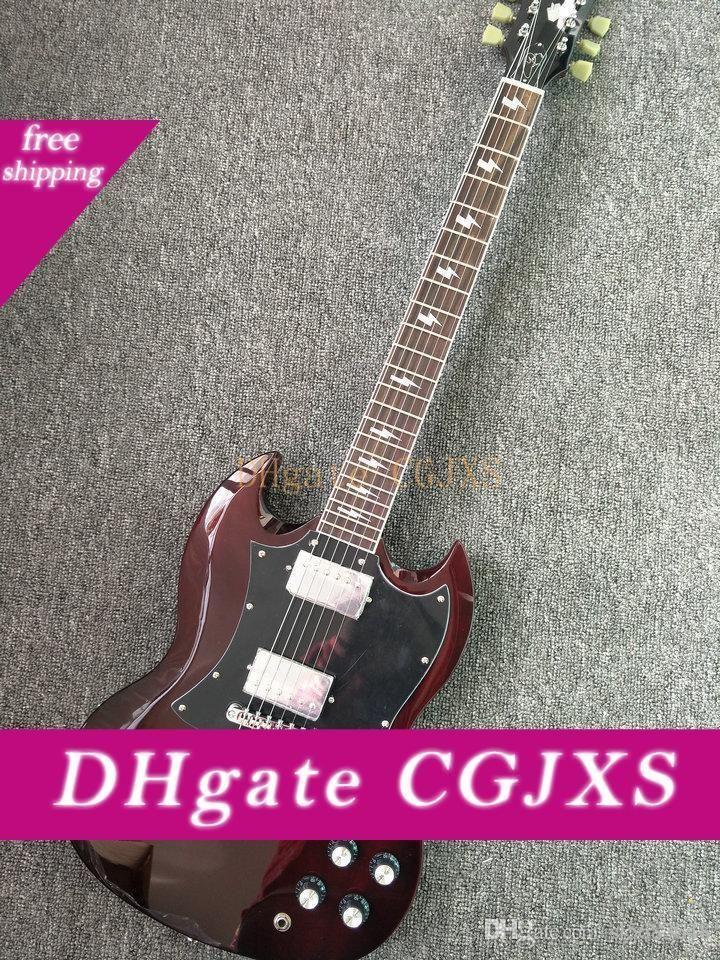 Yaşlı Kiraz Çin Donanım olarak Ücretsiz Gönderim! Toptan Yüksek Kalite Genç Tr Gitarlar 180902 Krom Özel Vücut Elektro Gitar Temin