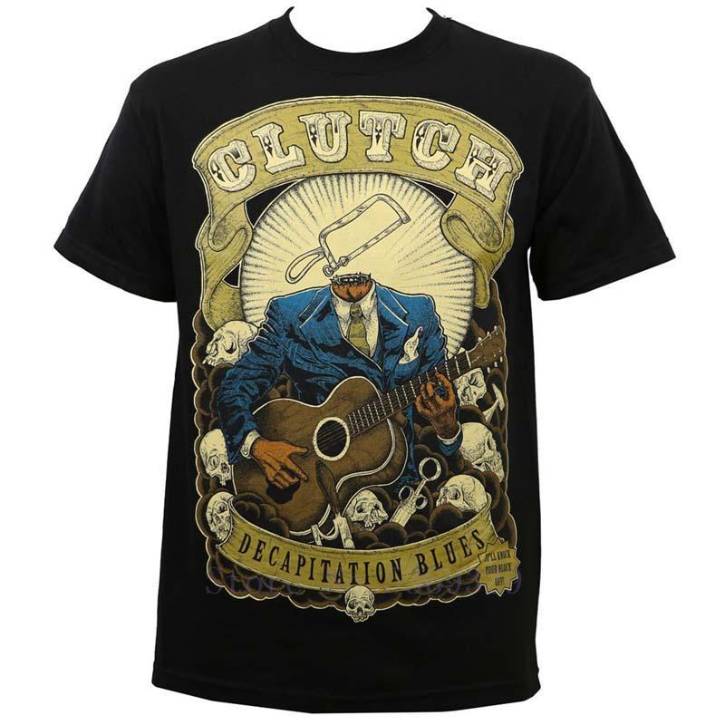 Authentic CLUTCH Banda decapitação dos azuis T-shirt Preto S M L XL 2XL 3XL 4XL 5XL NOVO Moda camisetas Verão Hetero 100% algodão