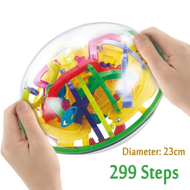 100-299 Steps 3D Magic Intellect Maze Balls Puzzle Castle Logic Game Big Ball Educational Magic Intellect Puzzle IQ Balance Kids Y200317