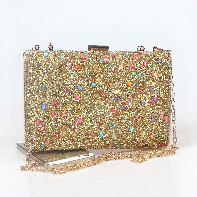 Luxury Multi-Colored Gold Handbags Women Bags Designer 2020 Long Chain Evening Clutch Bag Ladies Sparkling Shoulder Purse