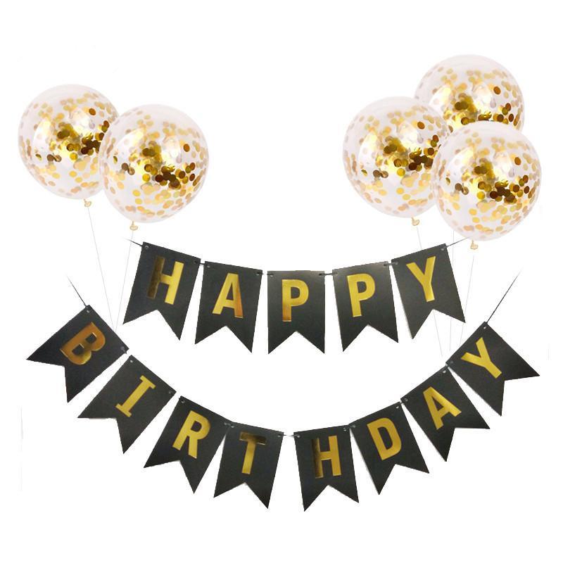 1set Doğdun Letter Banner Rose Gold Confetti Balonlar Bebek Doğum Günü Parti Süsleri Boy Kız Çocuk Parti Hediyeleri