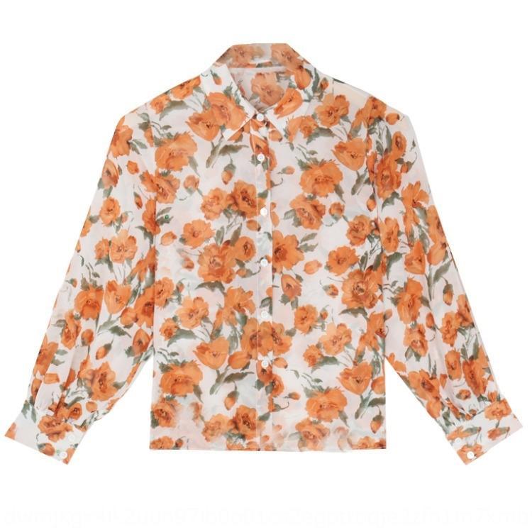 stile 9D7Mc nuova festa 2020 dimagrimento del fiore del manicotto lungo chiffon di stile delle donne allentate grande camicia a prova di sole della camicia bavero per il coreano NDdHU