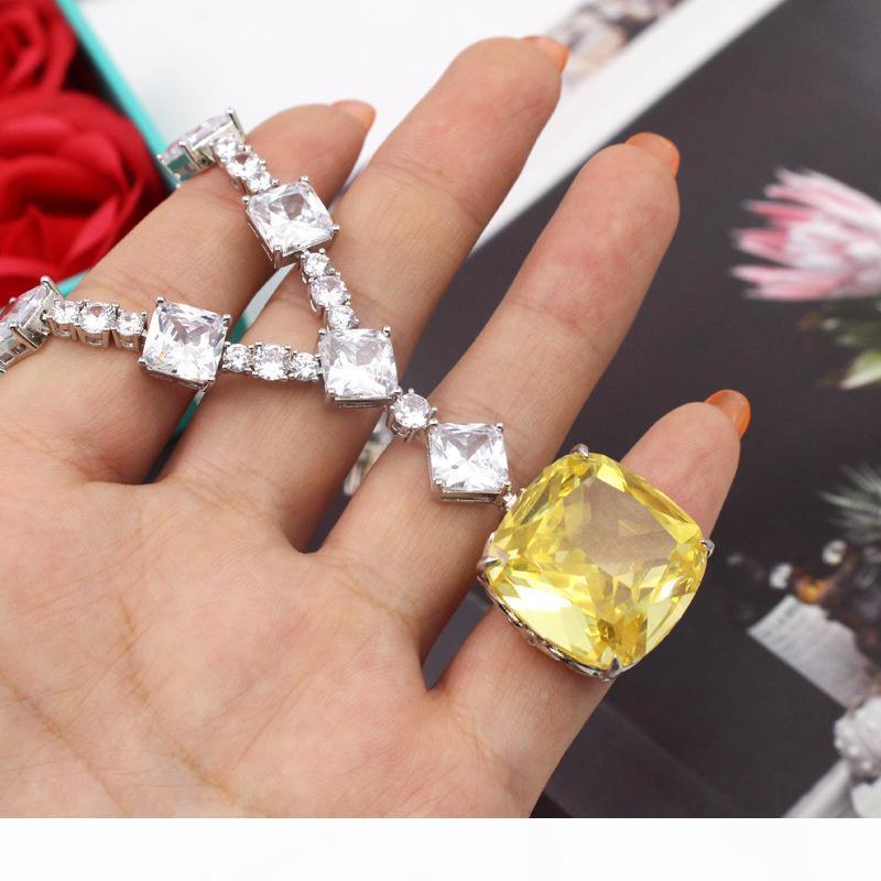 CZdiamond diseñador de alta calidad colgantes amarillos collares de la joyería de la boda del partido para las mujeres