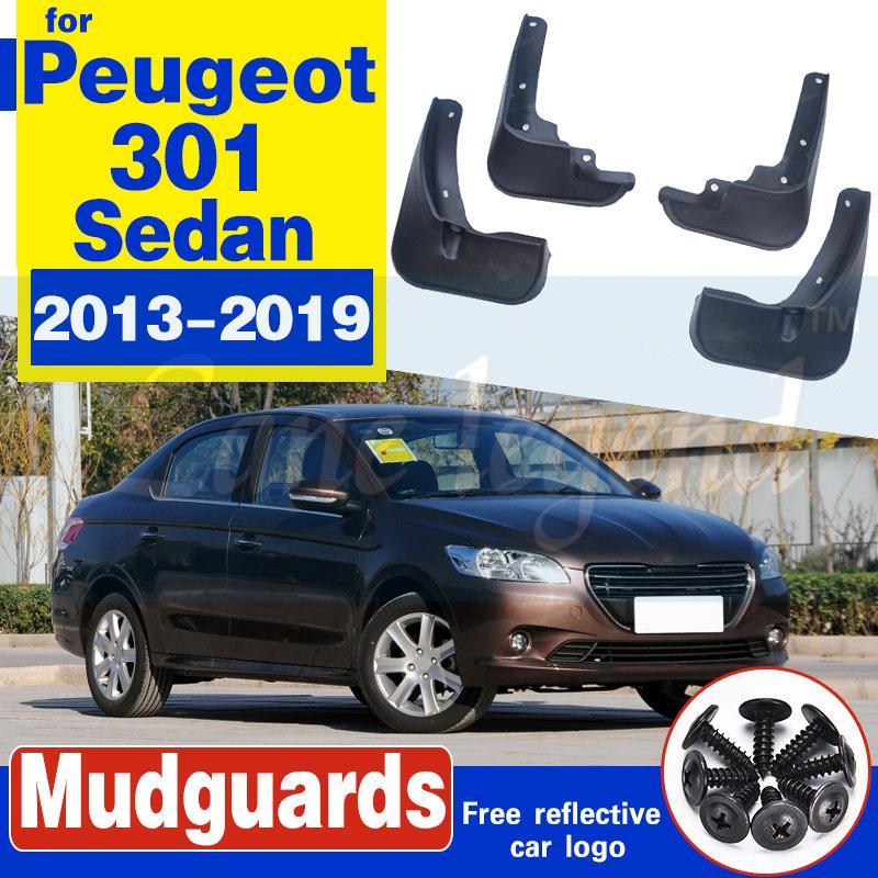 Flaps de boue de voiture arrière avant pour ladan de Peugeot 301 4 portes 2013-2019 2014 2015 2016 Mudfffls Guards Splash Guards Mud Flapper Fender