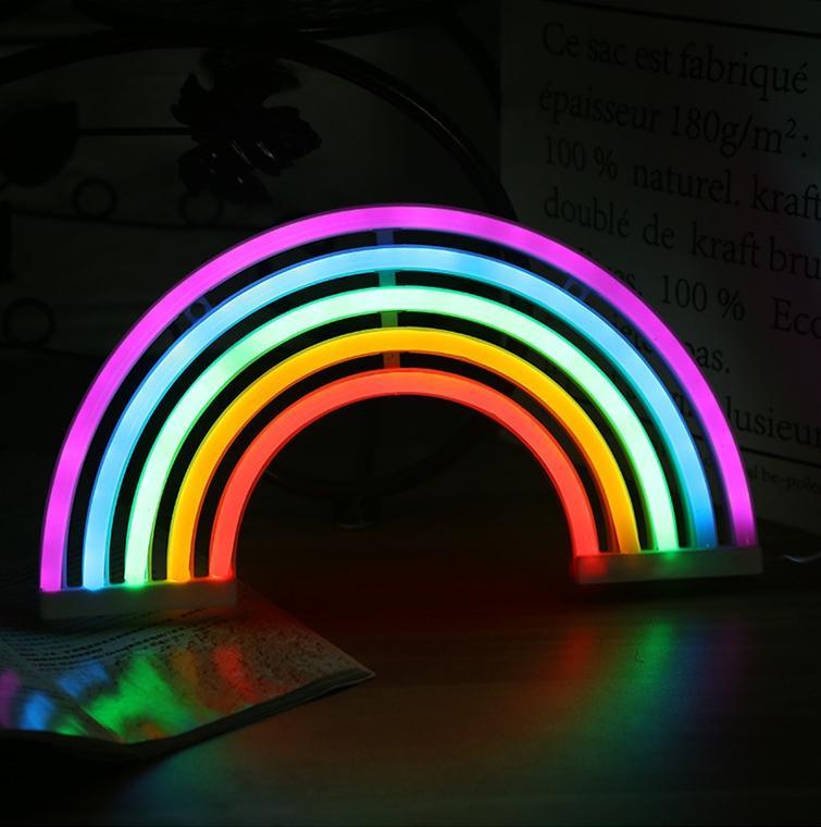Neue heiße Verkauf LED Modellierlichter Wand Hängende Regenbogen Neonlichter Ins Schlafzimmer Dekoration Nachtlampen Kreative Nachtlichter 123